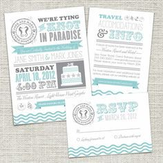 Vintage Beach Wedding Invitation