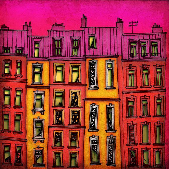 Paris red facade   Paris illustration  art print  Paris by tubidu, $20.00