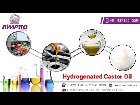 Video about Hydrogenated Castor Oil which  is a hard & brittle wax. It is odorless and insoluble in water too. Hydrogenated Castor Oil is used in polishes, cosmetics, electrical capacitors, carbon paper, lubrication, and coatings and greases where resistance to moisture, oils and petrochemical products is required.Hydrogenated Castor Oil industry which mainly focus upon the main regions which include continents like North America, Europe and Asia. Contact Us – Email info@rimpro-india.com