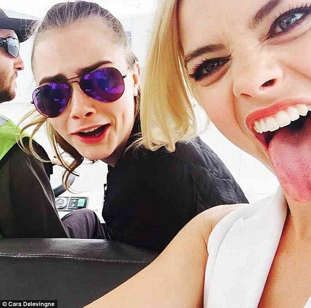 Cara Delevingne and Margot Robbie at SDCC 2015