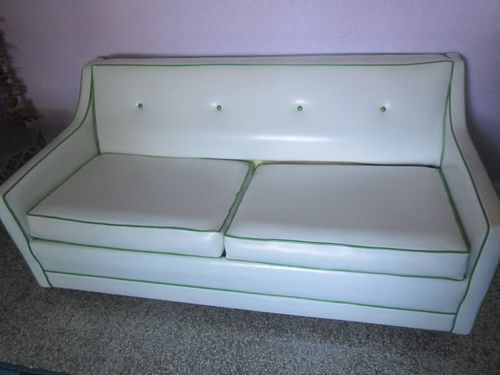 Vintage Retro White Vinyl With Green Trim Couch Sofa BED 1950 60s Original  | EBay