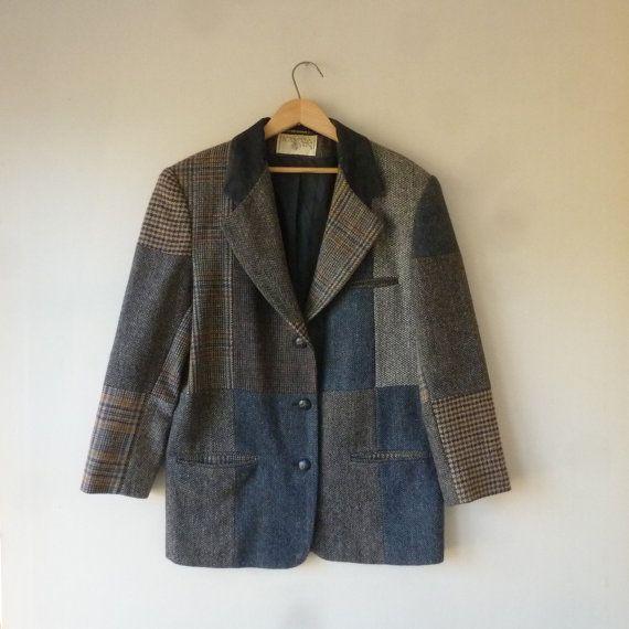 Patchwork Tweed Sport Coat  80s International Scene Blazer