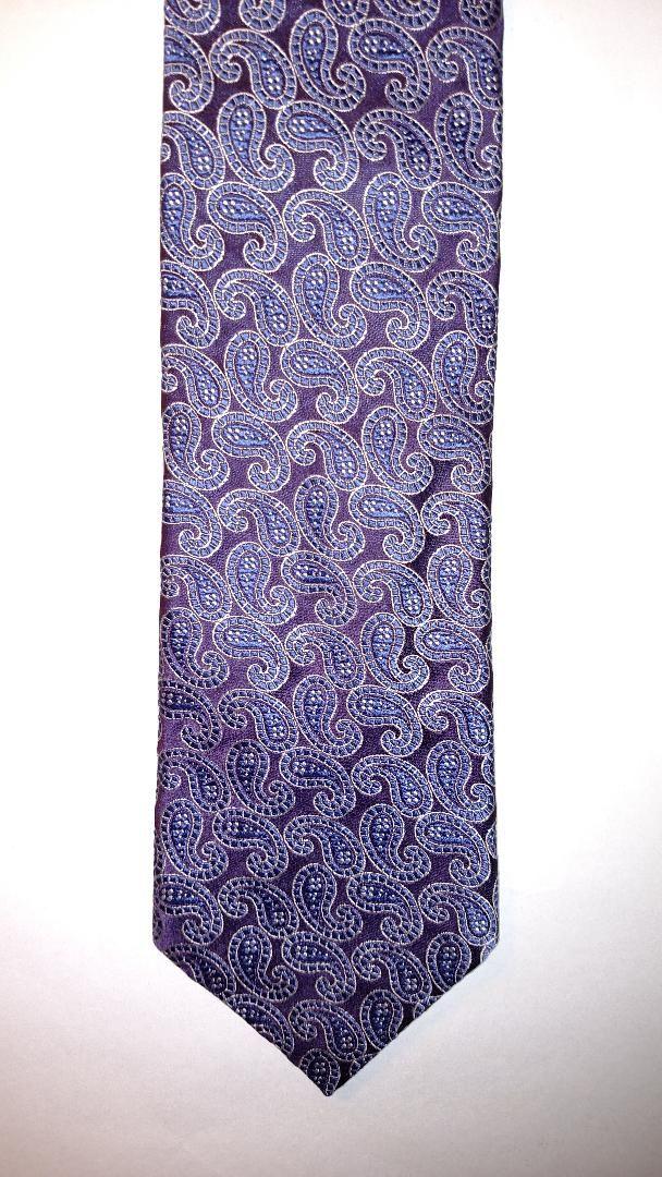 New Mens Canali Paisley Motif Purple Italian Silk Tie