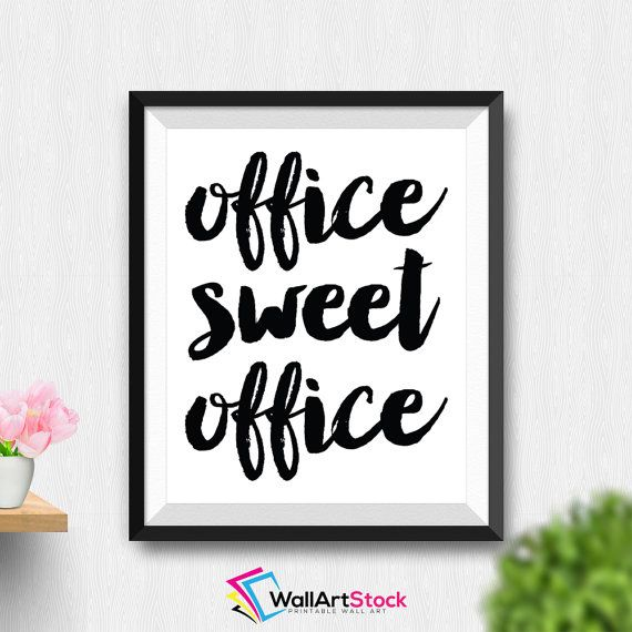 Printable Office Sweet Office Wall Art Office Typography Print Inspirational Quote Motivational Print Cute Office Decor (Stck161) by WallArtStock