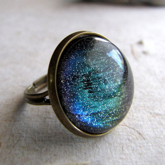 Northern Lights Ring in Antiqued Brass Color by AshleySpatula, $16.00: Lights Rings, Brass Colors, Mood Rings, Northern Lights, Antiques Brass, Changing Glitter, Colors Changing, Glitter Rings, Galaxies Rings