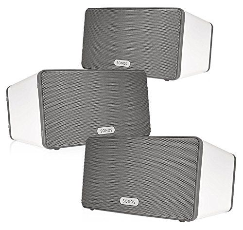 Sonos PLAY:3 Multi-Room Digital Music System Bundle (3 – PLAY:3 Speakers) – White  Browse Now      $897.00     All your music, in any room   Enjoy your favorite songs from iTunes. Stream your favorite online music services. Play a different song in each room at the same time. Or one great tune all over the house. With Sonos, everyone enjoys the music they love most, in any room they wish. Enjoy your favorite songs from iTunes and personal library. Stream Apple music or your other..