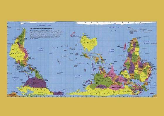 Tutkija näyttää, miten maailmankartat vääristävät todellisuutta - Kirjallisuus - Ihmiset - Helsingin Sanomat. A different view of the world...