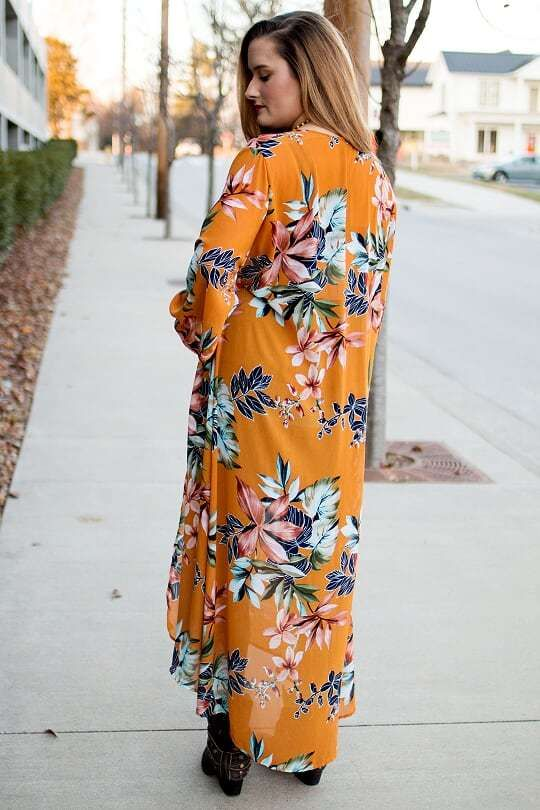 c529f8a3f Mustard Floral Duster - The Pink Buffalo Floral Duster, Kimono Duster,  Kimono Top,