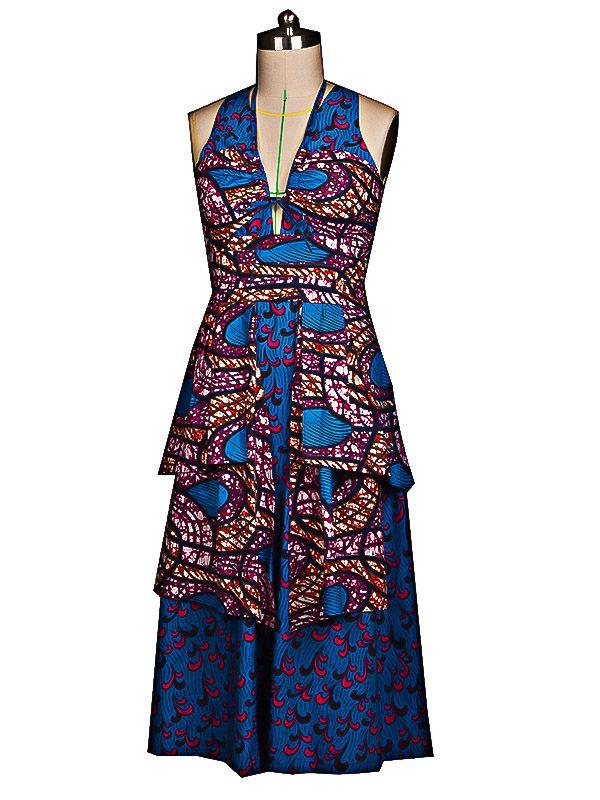 wax tissus africain | Robe de soirée en tissu africain V profond sans manches bleu cd038