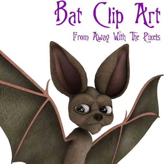 Funny Cartoon Bat Clip Art - high quality color images, commercial use ok