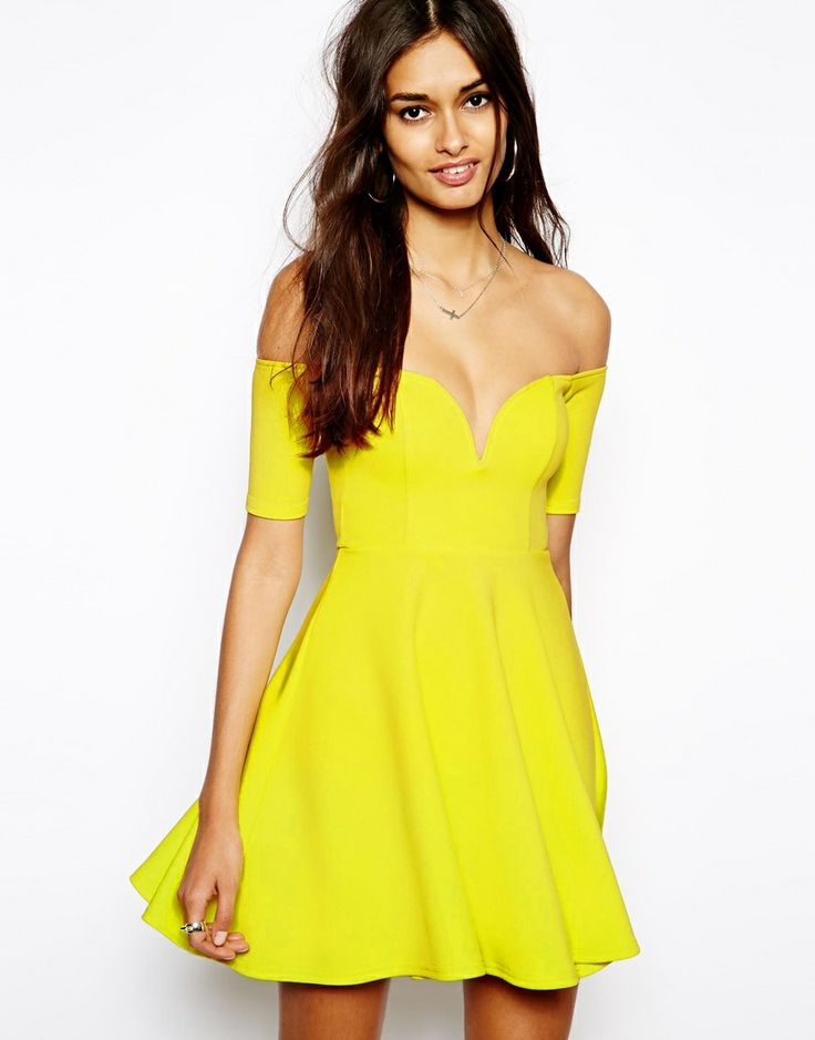 Oh My Love Scuba Off Shoulder Skater Dress. Any other color than yellow though!