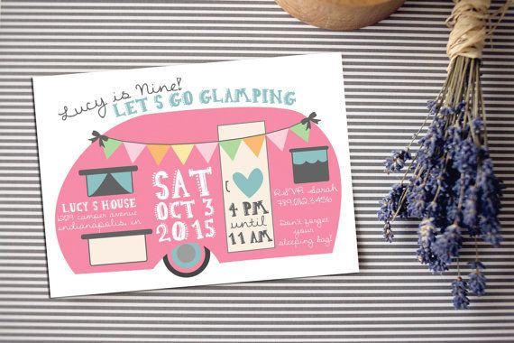 Glamping Birthday Invitation, Girl Camping Sleepover Party Invite, Pink Camper, Camp Printable Download, Glamper Boho Bday