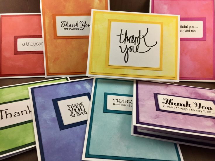 Thank You Card Set - Handmade Thank You Cards - Colorful Card Set - 8 Pack of Thank You Cards - Stampin Up - Rainbow Cards by WhimsicalEarthStudio on Etsy