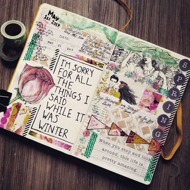 I'm sorry for all the things I said while it was Winter. Art journal inspiration - prompts from Creative Passport May 2017 Challenge