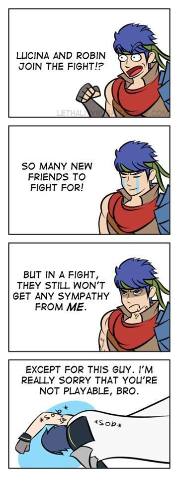 Chrom (FE13) and Ike (FE9&10) in Super Smash Bros. Ha ha, poor Chrom! At least he still gets to assist.