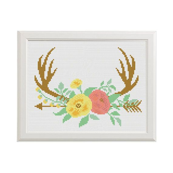 Deer Cross Stitch Deer Flower Cross stitch by AnimalsCrossStitch
