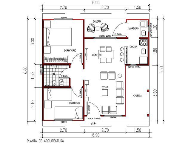 Planos casas 3 ambientes buscar con google proyectos for Planos de casas economicas