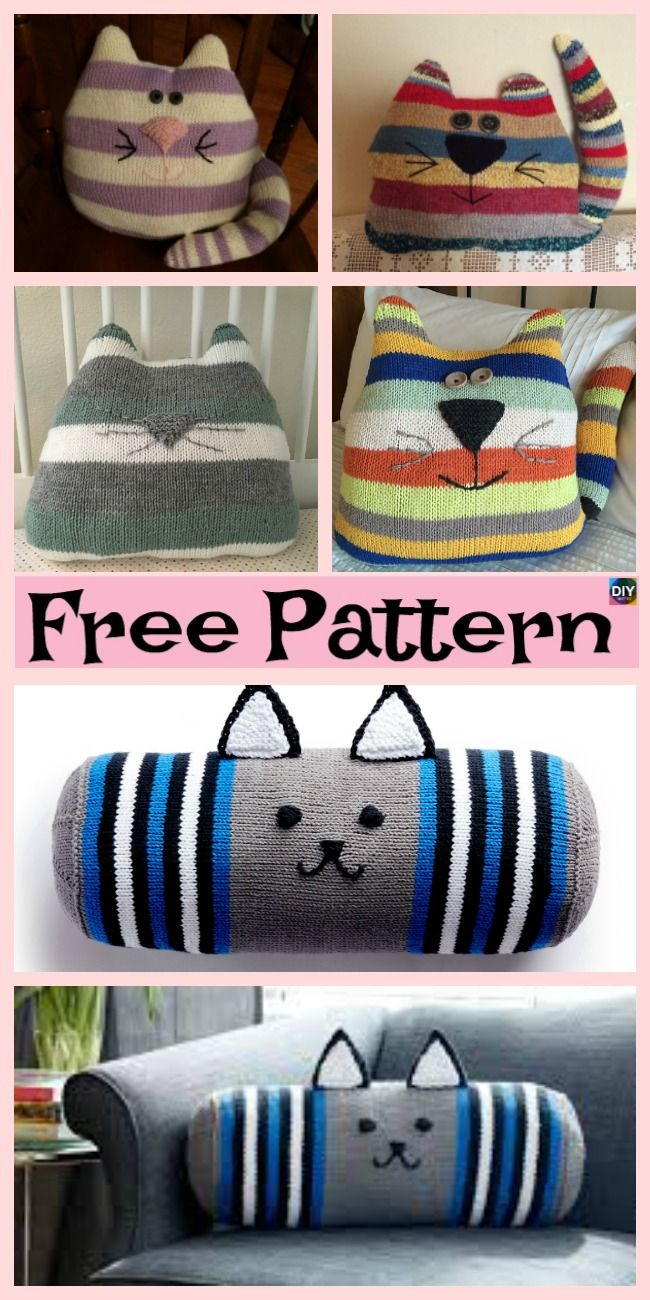 free cat cushion cover to knit # 2