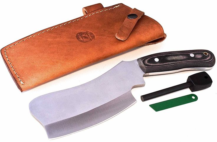 "CFK Cutlery Company USA D2 TRAIL BOSS VI CAMP-CLEAVER Micarta Camping Bushcraft Hunting Skinning Knife with Leather Sheath & Fire Starter Rod Set CFK133. SPECIFICATIONS: 10 5/8"" Overall, 6 1/4"" Blade, 4 3/4"" Cutting Edge, 2 3/8"" Blade Width, 1/4"" Blade Thickness, 4 3/4"" Handle, 1.2 Pounds. LIFETIME REPLACEMENT GUARANTEE - CERTIFICATE OF AUTHENTICITY - LOGO STICKER. Handmade D2 Tool Steel Full Tang Hollow Grind Blade - Vacuum Hardened 59HRC - Aluminum Rod Pins - Brass Tube Lanyard Hole…"