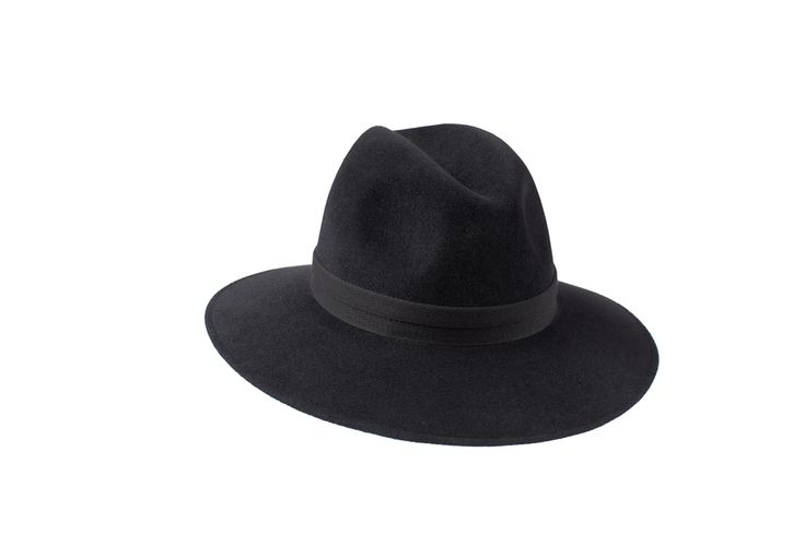 The Willow Fedora Collection   Charcoal Black   Double Black Herringbone Band www.penmayne.com #fedora #hats #accessories