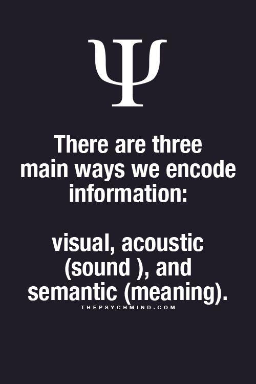 """Psychology Facts Here""""Existen tres formas en las cuales codificamos nuestra información:VISUAL, ACUSTICA (Sonido) y SEMANTICA (Significado)."""""""