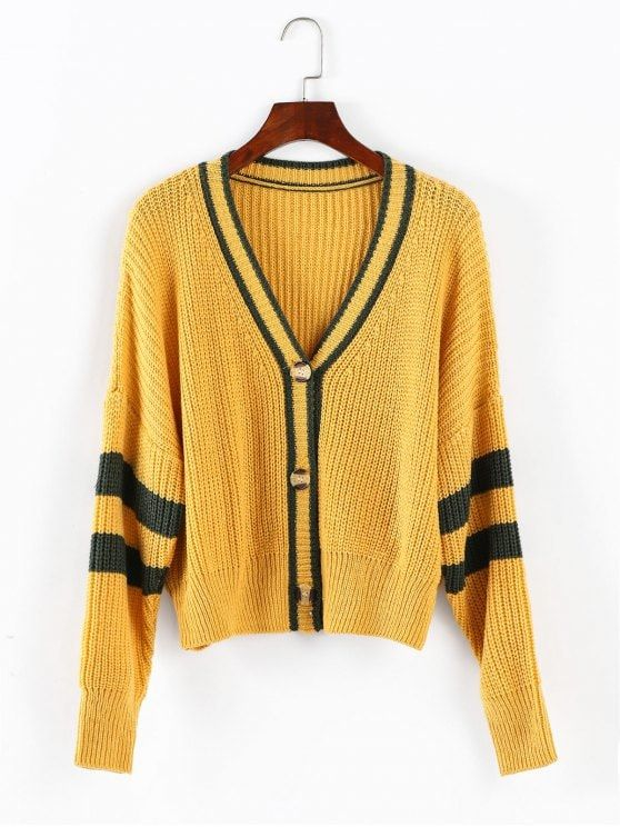 Only  20.99 and free shipping! Shop for 2018 ZAFUL Drop Shoulder Stripe Cardigan  Sweater in GOLDEN BROWN ONE SIZE of Sweaters and check 10000+ hottest ... ca600d629