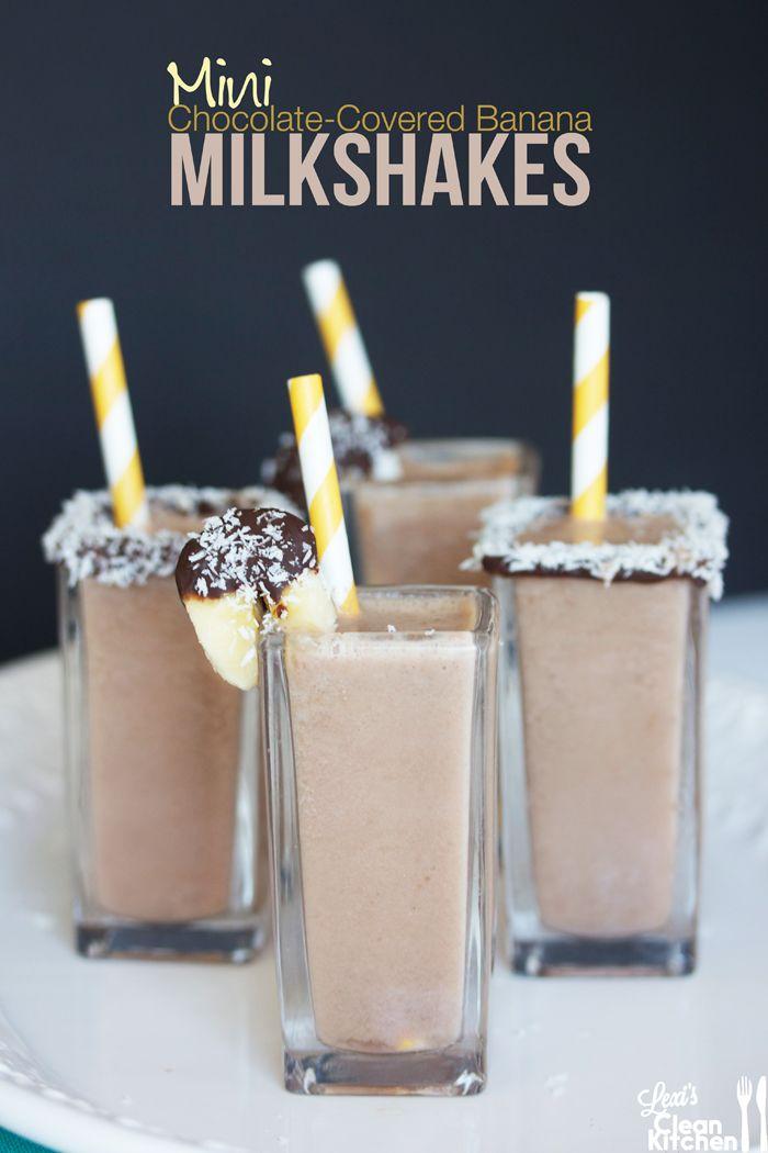 Mini Chocolate Covered Banana Milkshakes #dairyfree #paleo