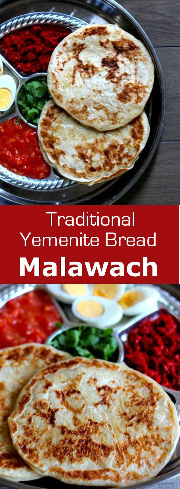 Malawach is a traditional Yemenite bread which consists of a thick crepe of thin layers of dough that are quickly fried. #bread #yemen #196flavors