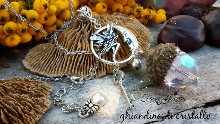 Collana ghianda cristallo natura gioielli botanici fata luna chiave , by Evangela Fairy Jewelry, 14,00 € su misshobby.com