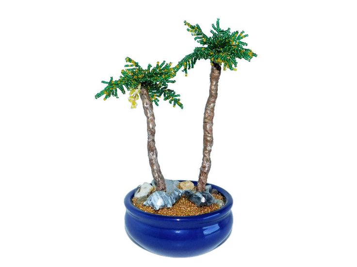 21cm Beaded Palm Trees Bonsai with Marble Tortoises in Blue Ceramic Pot. Office Interior Decor. Handmade Hawaii Island Bonsai. Beach Wedding by BeadedGardenCanada on Etsy