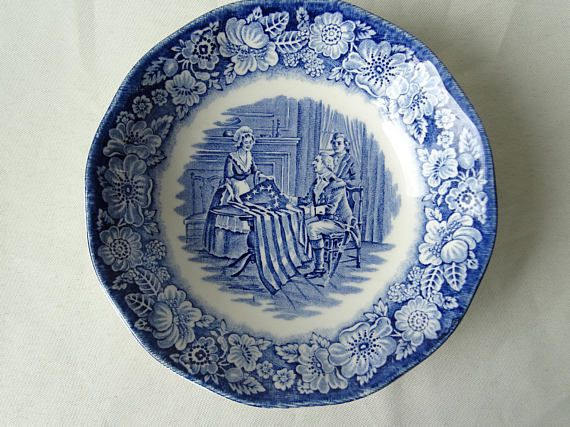 Betsy Ross Liberty Blue Bowl & The Hunter by Myott Bowl