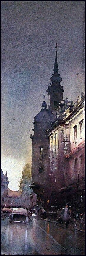 Dusan Djukaric After the rain, watercolor, 18x56 cm