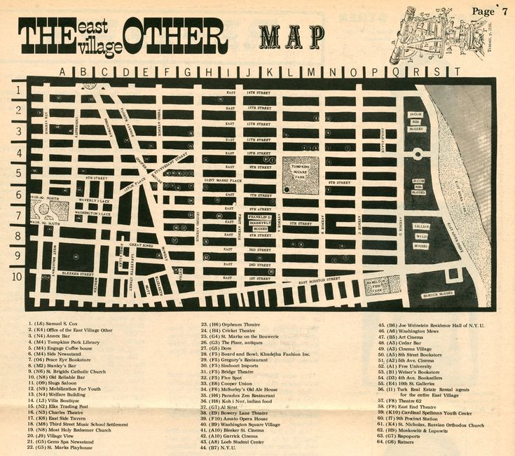 L.E.S. map from the East Village Other, circa 1960's