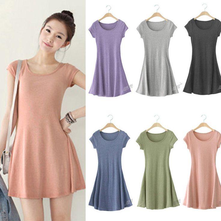 Women Summer Sundress Pure Cotton Casual Short Sleeve T-SHIRT Mini ...