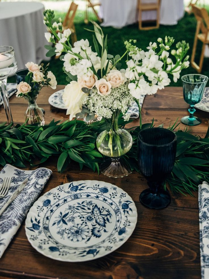 La Tavola Fine Linen Rental: Antibes Denim Napkins | Photography: Jen Yuson Photography, Venue: Old Sherill's Inn, Coordination & Planning: Asheville Event Co, Florals: Floressence Flowers, Rentals: Classic Event Rentals, Southern Vintage Table and UpStyled Setting, Catering: Colorful Palate
