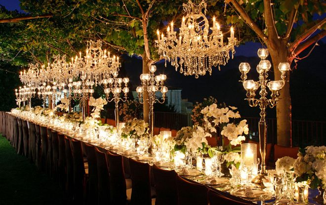 Long Tables, so romantic!: Outdoor Wedding, Ideas, Wedding Receptions, Tables Sets, Wedding Decor, Chandeliers, Candles, Dinners Tables, Long Tables