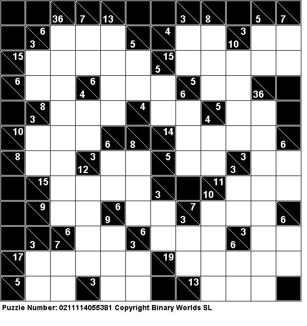 Free Kakuro (Cross Sums) puzzles