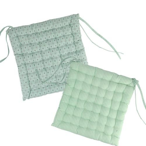 """14.25"""""""" New Romance Spring Green and White Reversible Indoor Chair Cushion"""