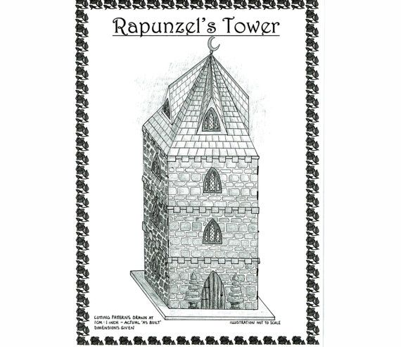 Fairy-Tale 'Rapunzels Tower' Dolls House 12th Scale Complete Plans Craft Pattern Doll House Miniature
