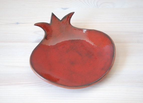 Ceramic pomegranate dish red serving bowl by NuritCeramics