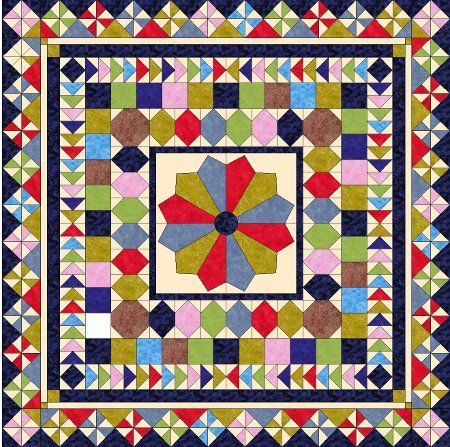 free round robbin quilt pattern--no english translation, but good pictures to follow