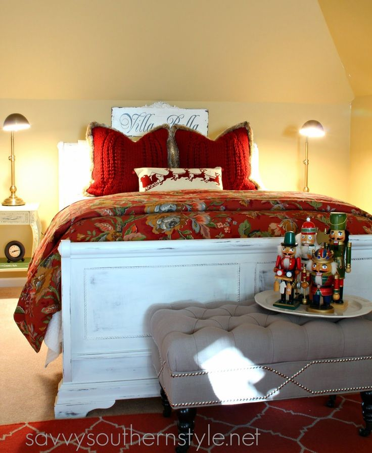 Savvy southern style traditional red and green guest room for Southern style bedroom