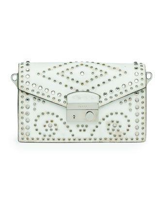 Vitello Vintage Sound Bag, White by Prada at Neiman Marcus ...