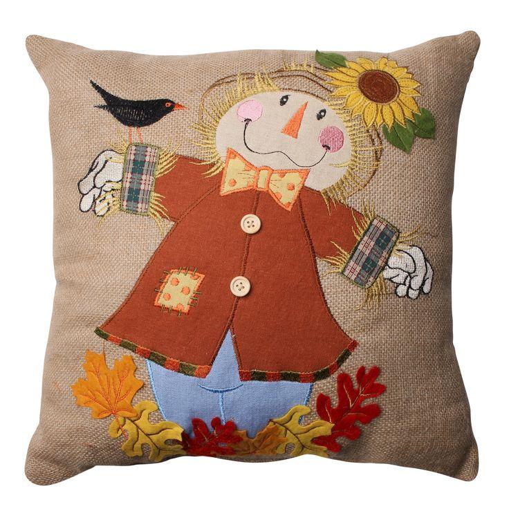 Pillow Perfect Harvest Scarecrow Burlap Throw Pillow - Tan (16.5)