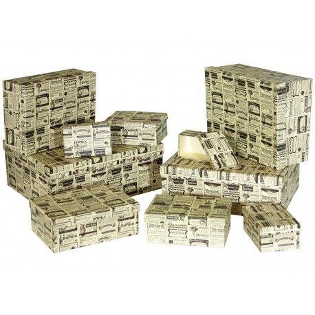 Caja cartón decorada anuncios antiguos