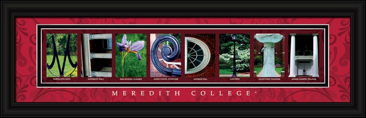 Meredith College Officially Licensed Framed Letter Art - St.Raleigh, NC