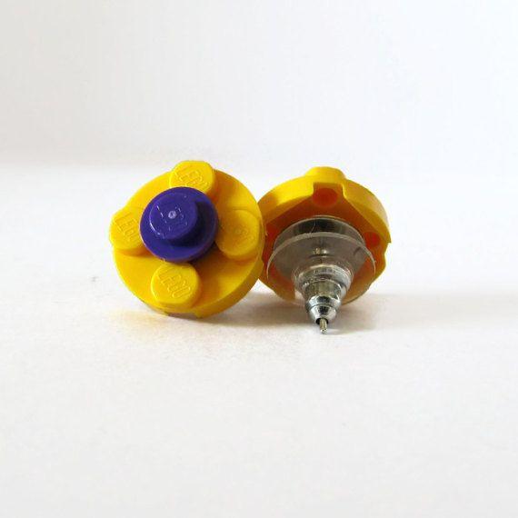 Yellow Earrings for Women-Cheap Earrings-Stud Earrings Set-From LEGO® Bricks-Funny Earings-Flower Earrings-Nerdy Earrings-Earrings for Her