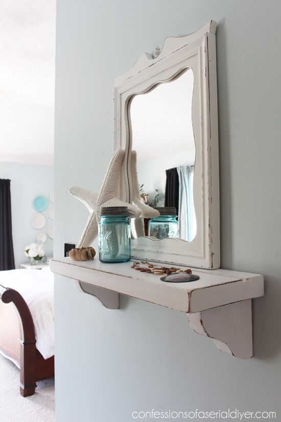 mirror plus shelf- Cottage-Inspired Shelf with Mirror from thrifty finds