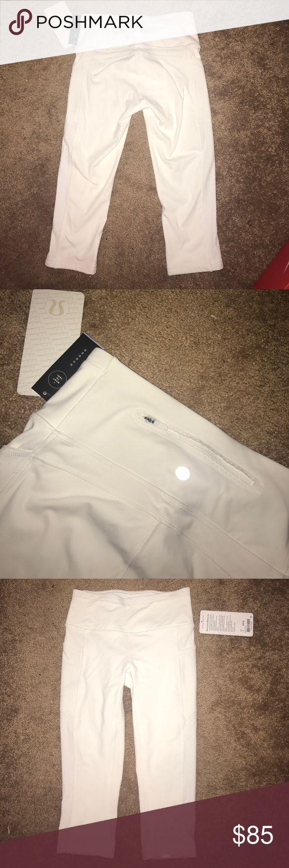 lulu lemon white capris high waisted white high waisted capri leggings with pocket on side size 4 S lululemon athletica Other