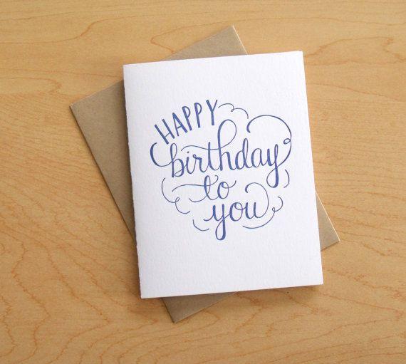 Happy birthday to you letterpress card by wayfarepress on